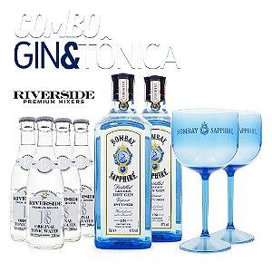 Combo G&T Gin Bombay Sapphire + Riverside + Taças