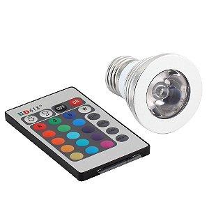 Lâmpada Led 16 Cores RGB + Controle 24 Funções! 3W E27