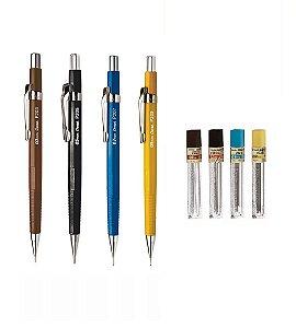 Kit Clássico Lapiseiras Pentel  Sharp P200 0,3mm 0,5mm 0,7mm 0,9mm em Blister