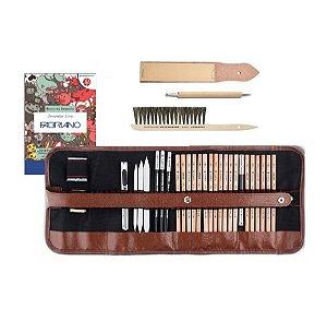 Estojo Lápis Desenho Artístico Marco 31 peças (Lixa | Apontador | Estilete | Escova Bigode | Boleador)
