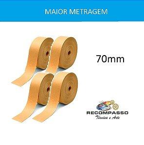Kit 4 Rolos de Fita Gomada Sem Reforço Lisa 70mm Maior Peso e Maior Metragem