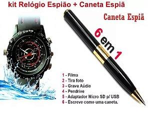 Kit Relógio espião 007 + Caneta espiã 007