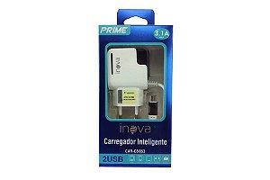 Carregador Inova 3.1 Amperes 2 Saidas USB + Cabo Micro USB