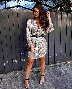 Vestido kimono gold & silver
