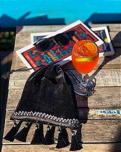 Bolsa saquinho velvet & tassel black