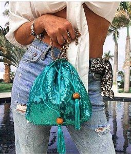 Bolsa paetês esmeralda