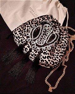 Bolsa leopard bordados & tassel