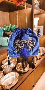 Bolsa velvet blue & penas