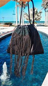 Bolsa velvet & franja longa black