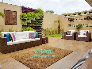 conjunto de sofa quadrado 5 lugares em fibra sintetica