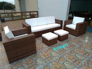 sofá quadrado 3 e 2 lugares em fibra sintética com aparador com dois puffs alumínio