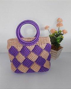Bolsa Adele, modelo de mão, em crochê, nas cores lilás e rosê, feita com fio náutico de polipropileno