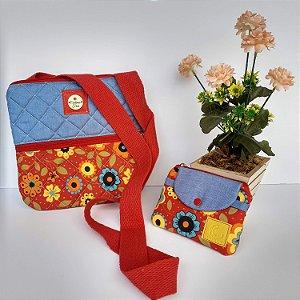 Bolsa feminina tiracolo casual tecido jeans-floral vermelho acompanha mini carteira