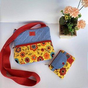 Bolsa feminina tiracolo casual tecido jeans-floral amarelo acompanha mini carteira