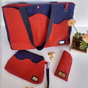 Kit verão bolsa carteira de mão porta-óculos tecido azul vermelho