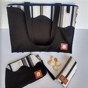 Kit verão bolsa carteira de mão porta-óculos tecido listrado preto