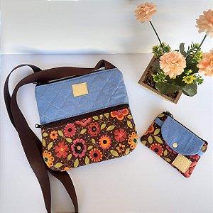 Bolsa feminina tiracolo casual tecido jeans-floral marrom acompanha mini carteira