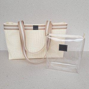 Bolsa de praia tela PVC creme alça de ombro acompanha nécessaire cristal