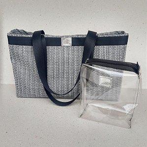 Bolsa de praia tela PVC preta alça de ombro acompanha nécessaire cristal