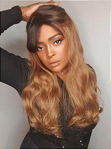 Peruca wholle  wig Tina 1b preto + ombre (fibra futura)