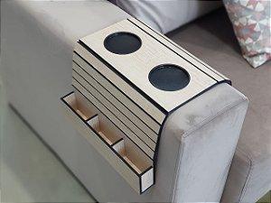 Bandeja para sofá com porta copos e controle - artesanal