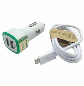 CARREGADOR VEICULAR COM 2 SAIDAS USB 2.4A + CABO USB V8 MAXMIDIA MAX-630CAR