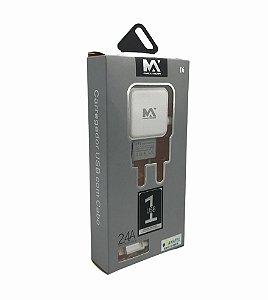 CARREGADOR DE CELULAR LIGHTNING 2.4A COM + 1 SAIDA USB MAXMIDIA MAX-CAR86