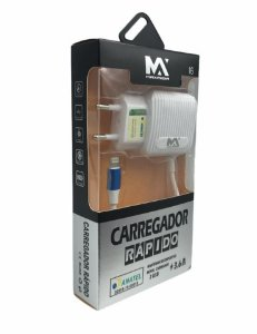CARREGADOR RAPIDO LIGHTNING 3.6A COM DUAS SAIDAS USB MAXMIDIA MAX-CAR68