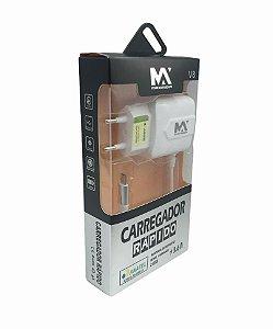 CARREGADOR RAPIDO 3.6A MICRO USB V8 1M + 2 SAIDAS USB MAXMIDIA MAX-CAR65