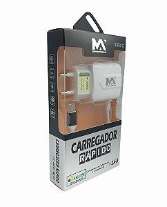 CARREGADOR RAPIDO 2.4A TYPE-C 1M + 1 SAIDA USB MAXMIDIA MAX-CAR93
