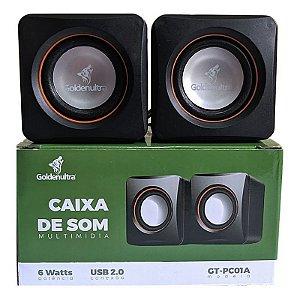 CAIXA DE SOM USB-P2 MULTIMIDIA 6W P/ PC GOLDENULTRA GT-PC01A