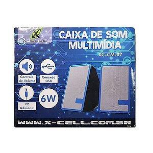 CONJUNTO C/ 2 CAIXA DE SOM P/ PC 6W X-CELL XC-CM-07
