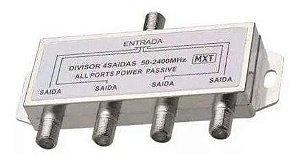 DIVISOR SPLITTER BLINDADO 1X4 50-2400 MHZ (ALTA-BAIXA)