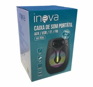 CAIXA DE SOM BLUETOOTH/ FM/ AUX/ USB/ TF/ MIC INOVA RAD-8645