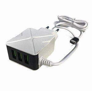 CARREGADOR RAPIDO 5.1A MICRO USB V8 + 3 USB INOVA CAR-8397