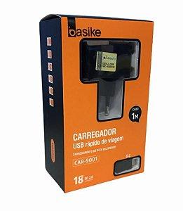 CARREGADOR RAPIDO DE VIAGEM 18W 1M TYPE-C BASIKE CAR-9001/TC