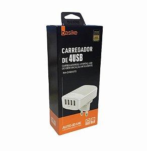 CARREGADOR RAPIDO 4 USB + CABO V8 AUTO-ID 4.4A BASIKE BA-CAR0070