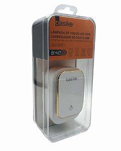LAMPADA DE TOQUE LED COM 3 USB AUTO ID 3.4A BASIKE BA-CAR0087