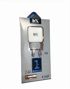 CARREGADOR RAPIDO 2.4A MICRO USB V8 1M MAXMIDIA MAX-CAR85