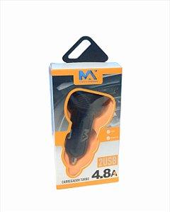 FONTE CARREGADOR VEICULAR 2 USB 4.8A MAXMIDIA MAX-625CAR