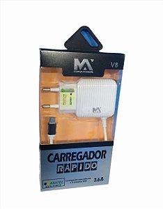 CARREGADOR RAPIDO 3.6A MICRO USB V8 1M + 2 USB MAXMIDIA MAX-CAR67