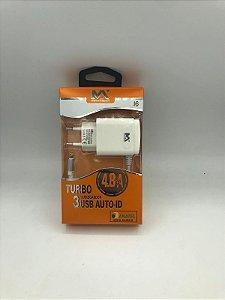 CARREGADOR LIGHTIN DE PAREDE COM 3 SAIDAS USB