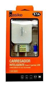 CARREGADOR INTELIGENTE LIGHTNING BASIKE COM 2USB  CAR-9009IP