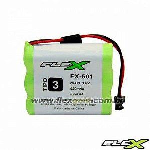 """BATERIA P/ TELEFONE SEM FIO MOD. """"FLEX"""" FX-501 3.6V 650MAH"""