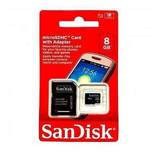 CARTÃO MEMORIA MICRO SD SANDISK 8GB