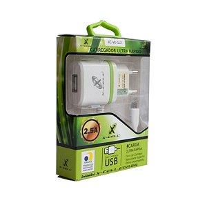 CARREGADOR DE CELULAR V8 2.8A C/1 USB X-CELL.MOD.XC-V8-GLX