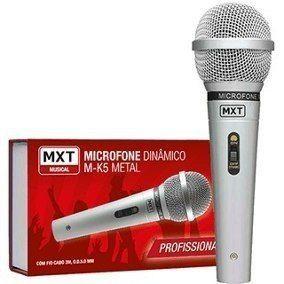 MICROFONE DINAMICO DE METAL M-K5 PROFISSIONAL PRATA CABO 3M O.D.5MM MXT