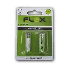 PILHA AAA ALCALINA C/2 UNIDADES - MARCA : FLEX MOD. FX- AAAK2