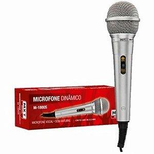 MICROFONE DINAMICO DE PLASTICO M-1800S PRATA CABO 3.0M OD: 4.0MM