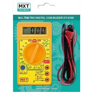 MULTIMETRO DIGITAL DT830D AMARELO COM BUZZER